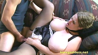 Face fucking a busty maid